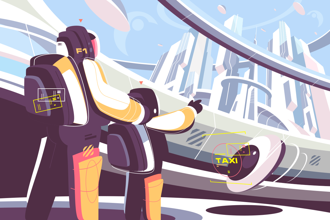 Weekdays of people in future vector illustration. Father and son going on futuristic taxi flat style design. Little boy pointing on cityscape with flying taxicab. Fantastic technology