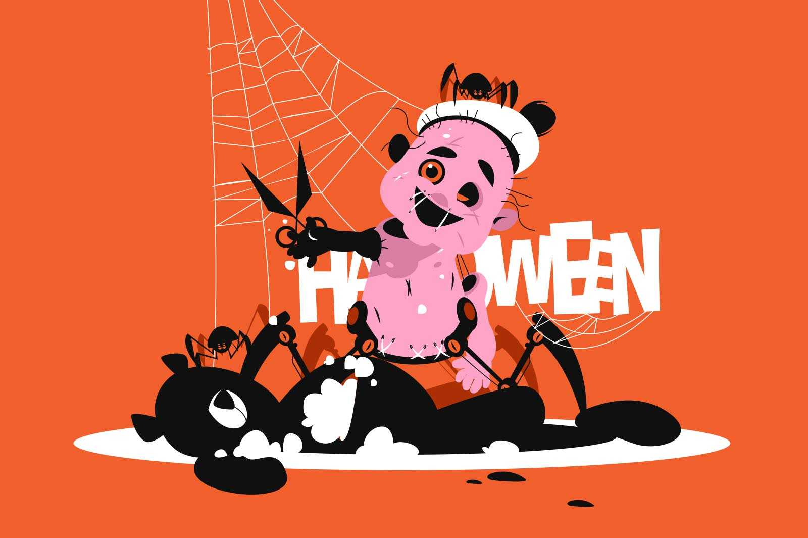 Terrible evil doll vector illustration. Halloween doll with scissors and spider with spiderweb flat style. Autumn holiday and trick or treat concept. Isolated on orange background