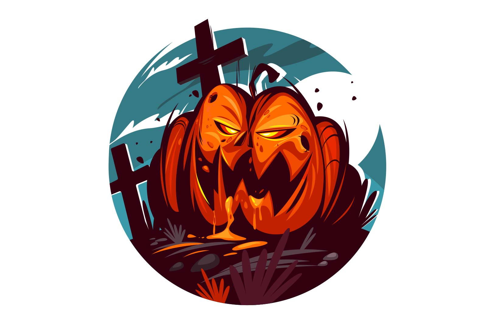 Bright evil pumpkin vector illustration. Scary orange autumn vegetable flat style. Crosses on horror cemetery. Festive party. Happy halloween decoration concept. Isolated on white background