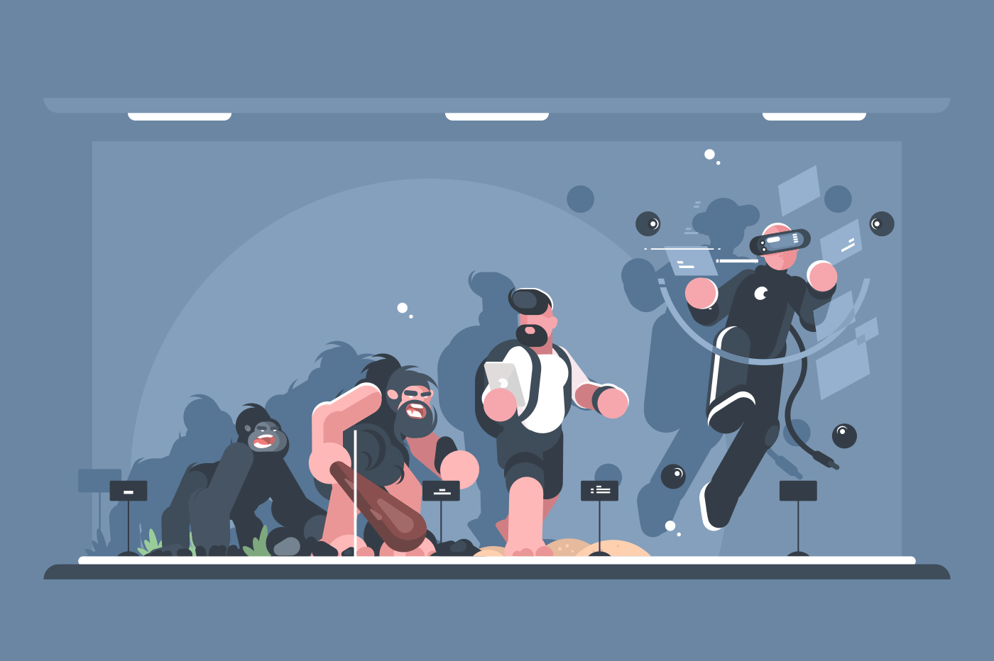 Evolution of man. Monkey and homo sapiens, person with smartphone, and in virtual reality. Vector illustration