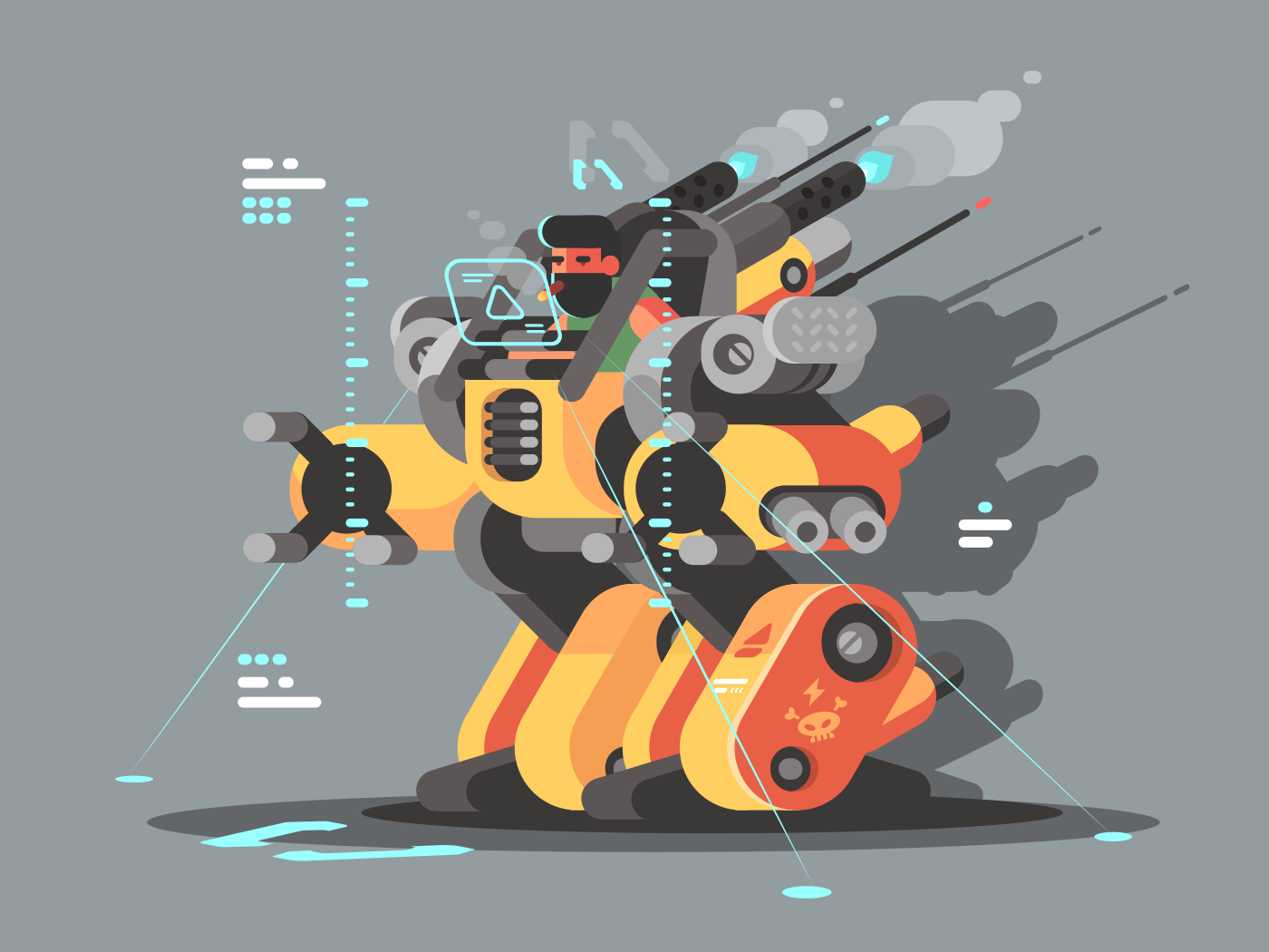 Exoskeleton innovative robot to help people with disabilities. Vector illustration