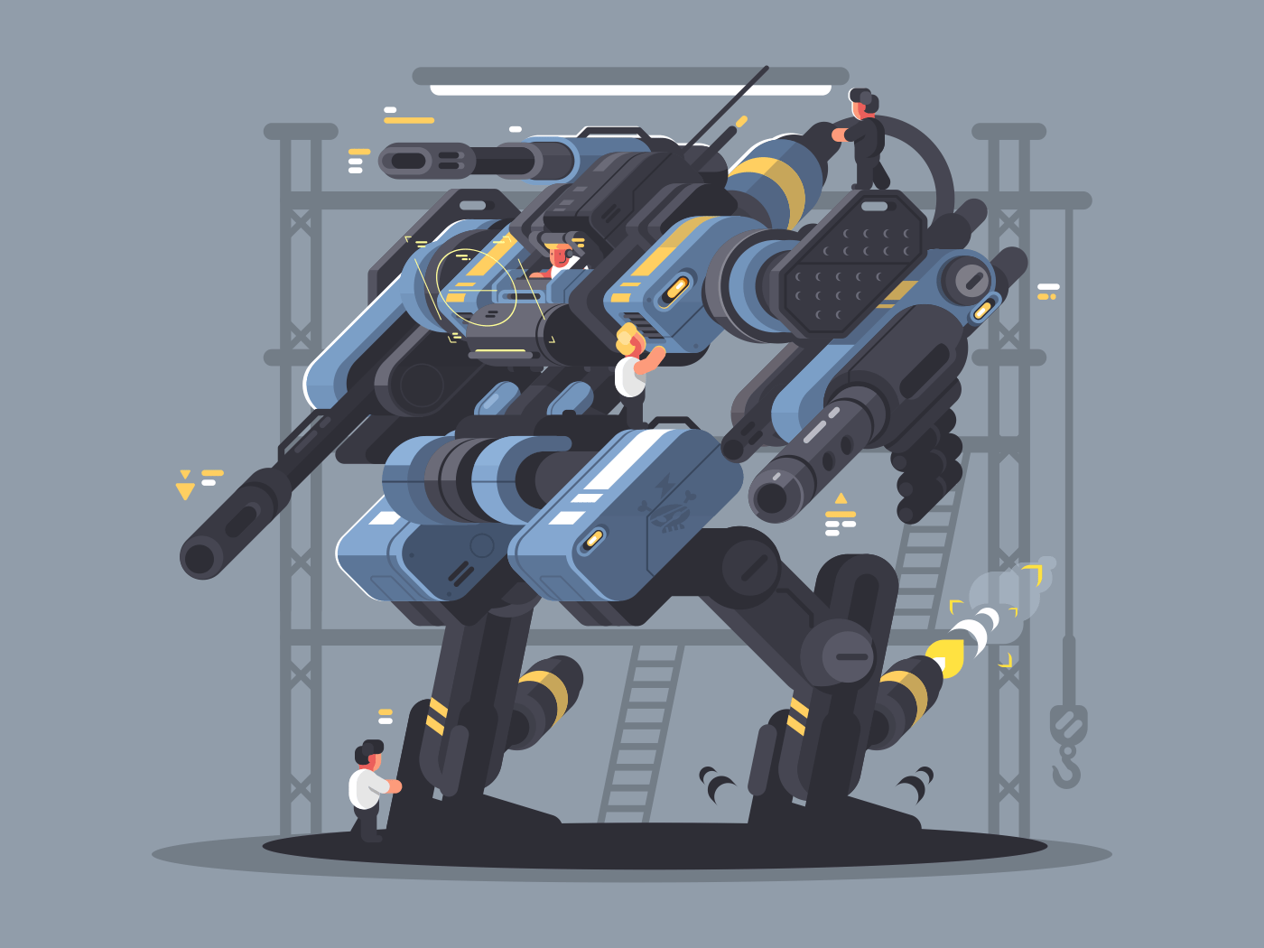 Military exoskeleton controlled by man. Modern technology of future. Vector illustration