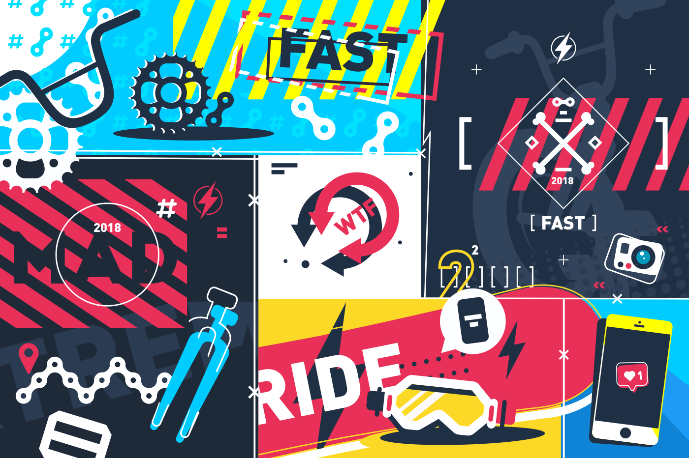 Extreme sport abstract background. Fast ride on bike. Vector illustration