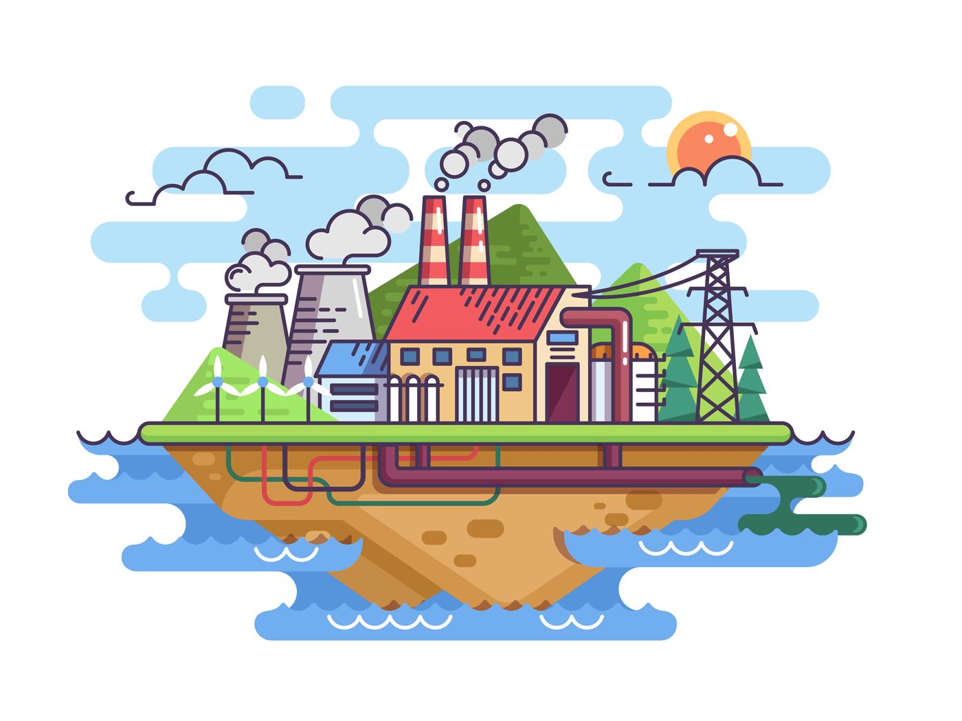 Factory plant on island illustration