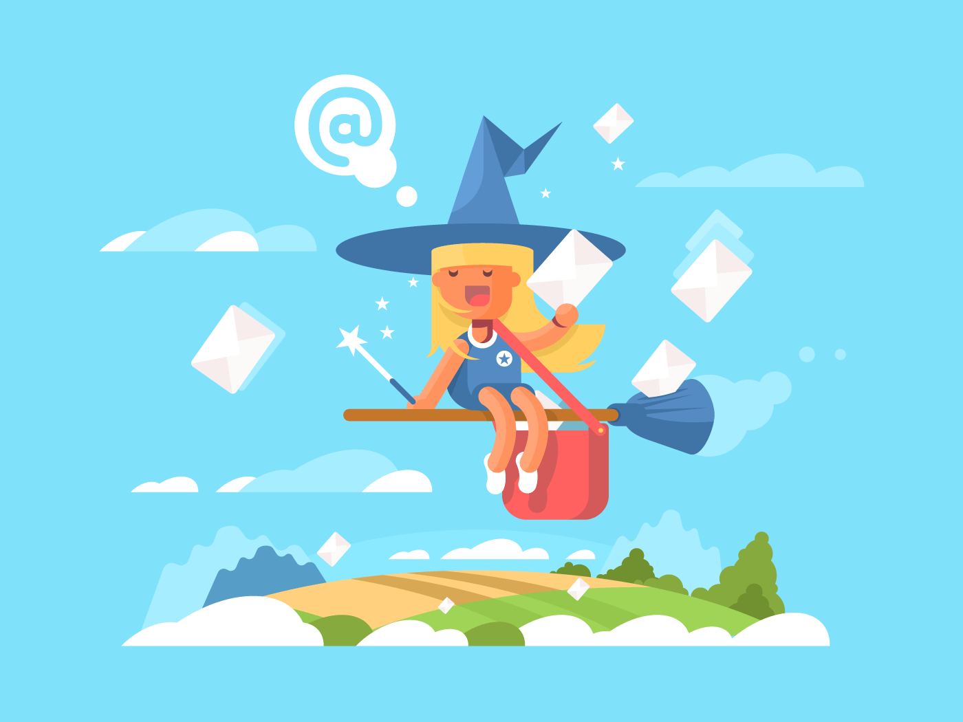 Postal fairy on a broom flat vector illustration
