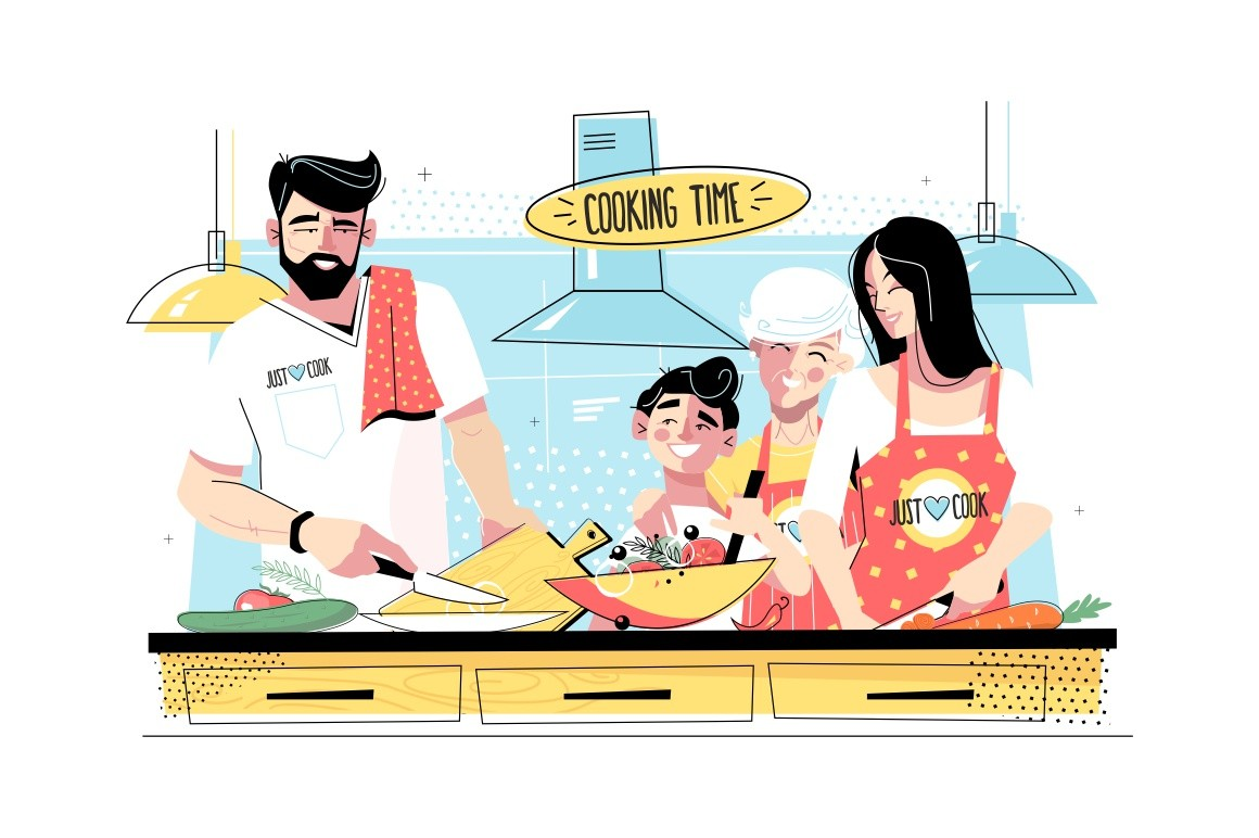 Family cooking food together vector illustration. Grandma, mom, daddy standing in kitchen and cutting vegetables for salad flat style design. Cook time concept