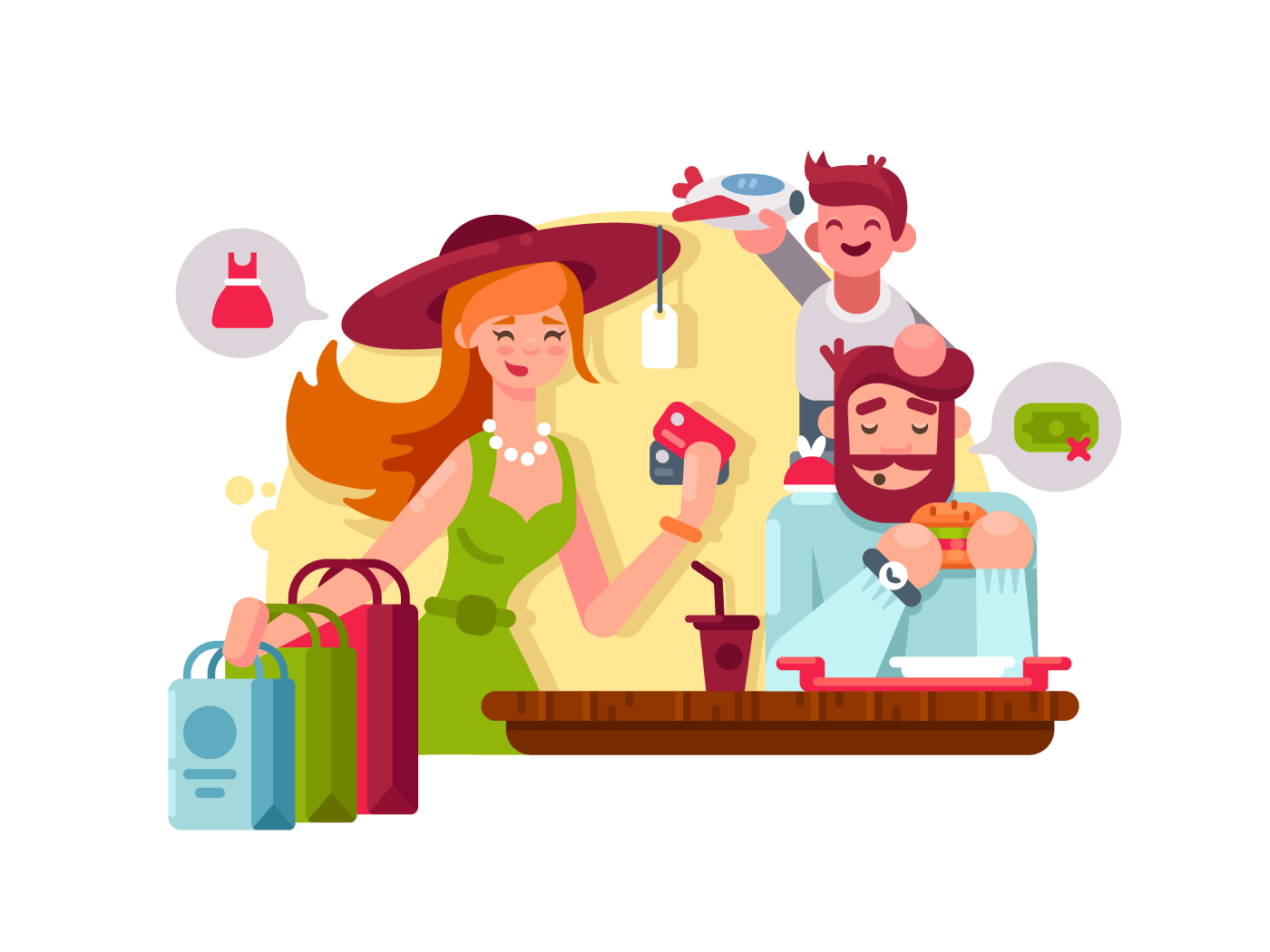 Young family shopping illustration