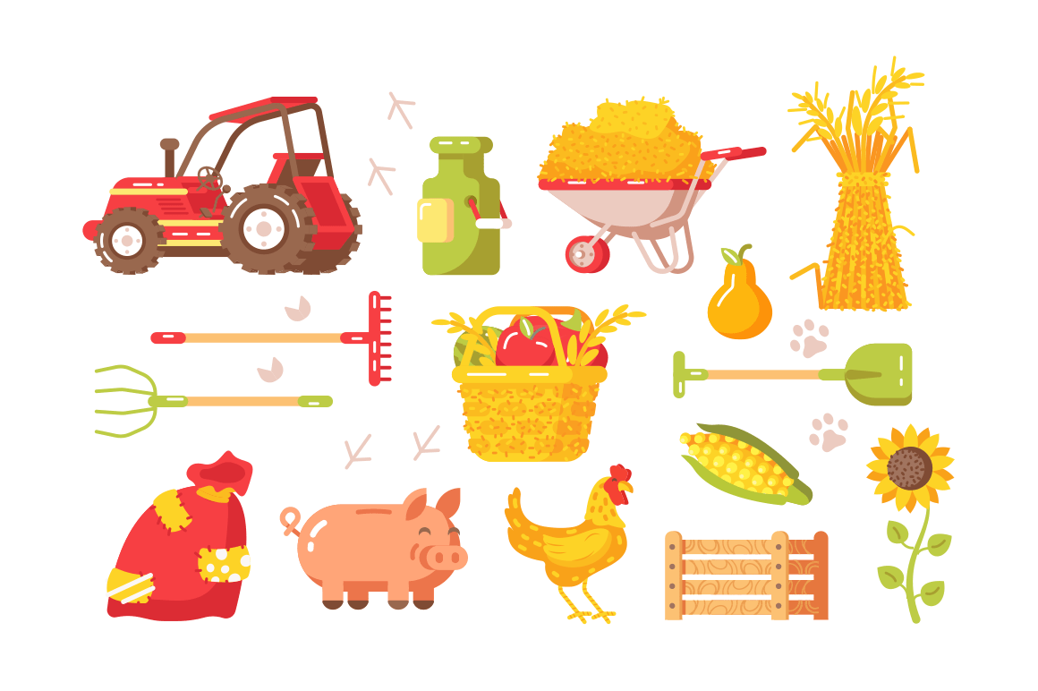 Farm symbols set vector illustration. Collection contists of tractor kaleyards equipment animals plants vegetables and fruits flat style design. Agriculture and farming concept. Isolated on white