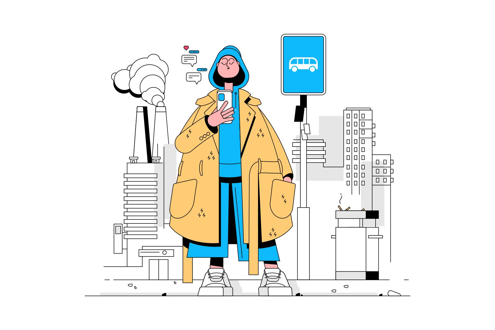 Fashionista in coat vector illustration. Trendy dressed girl texting on smartphone on bus stop flat style. Fashion and youngsters concept. Isolated on white background