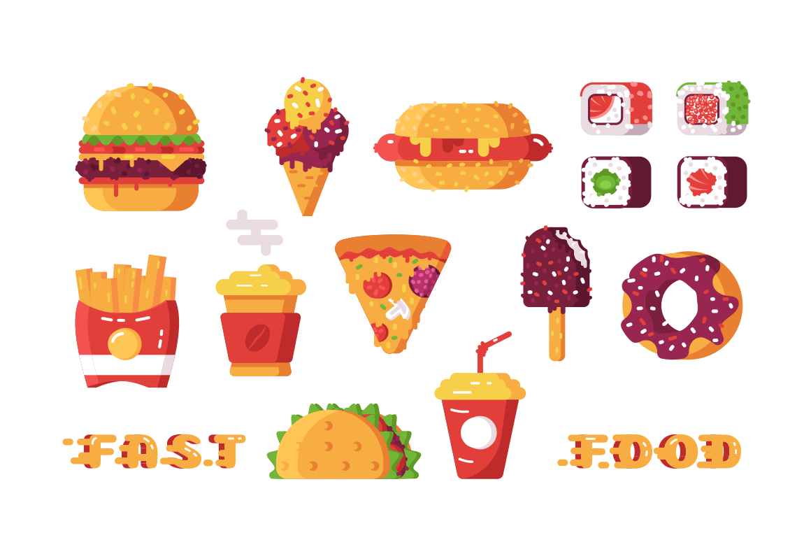 Set of various type of fast food vector illustration. Different kinds of unhealthy beverages and leisures like sushi, taco and french fries flat style design. Semi-finished products concept