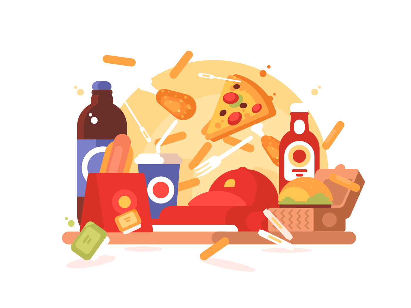 Fast food set. Hamburger and hot dog, soda and french fries. Vector illustration