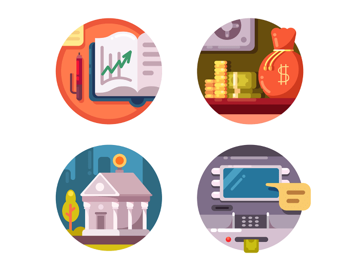 Financial institution money icons