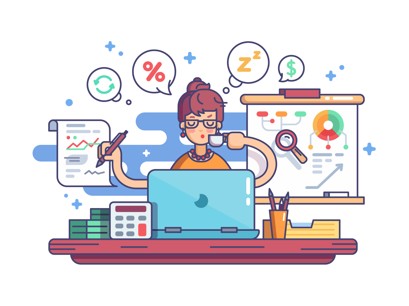Woman financial accountant illustration