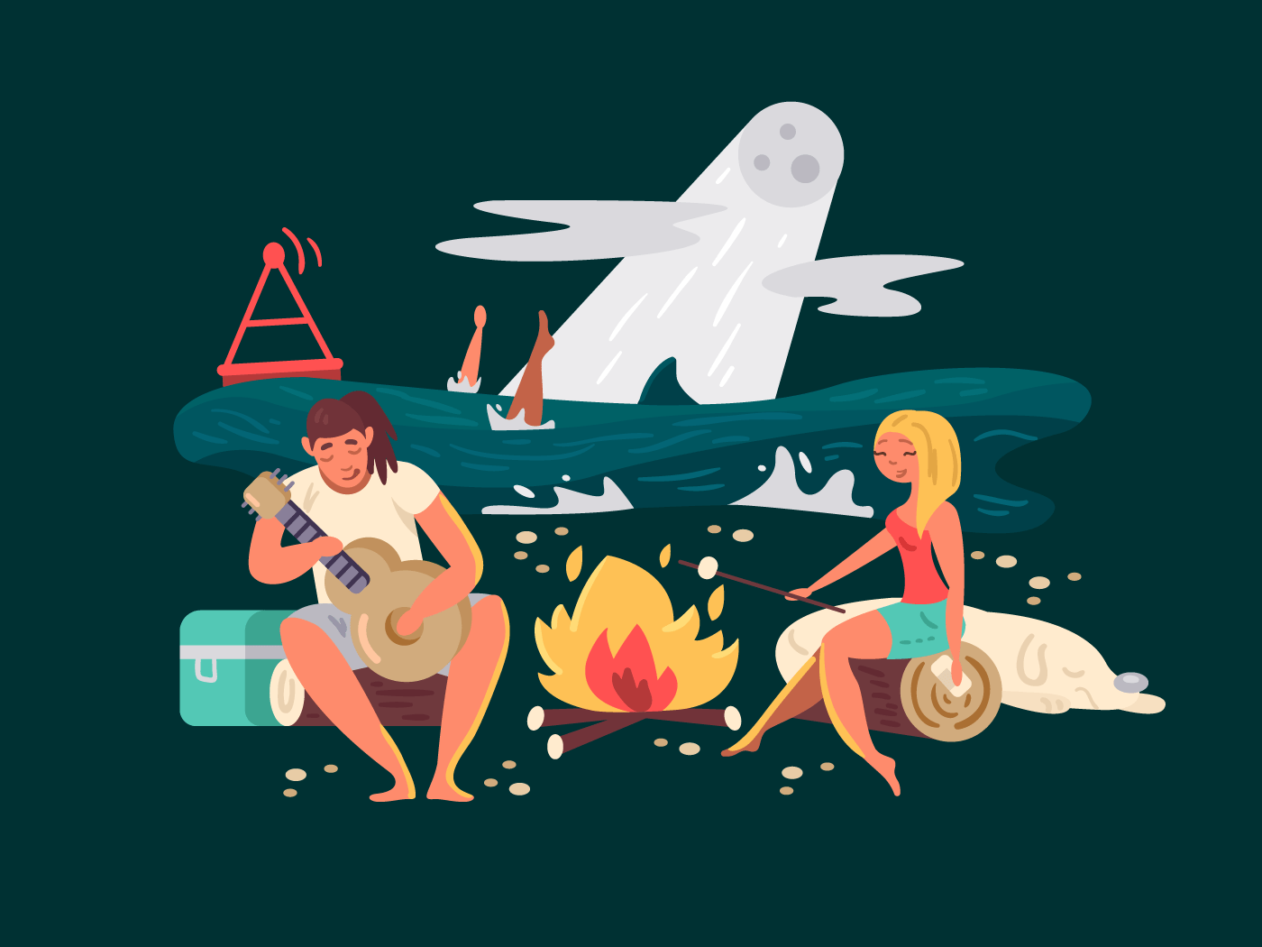 Night picnic on beach. Girl with guy near fire. Vector illustration