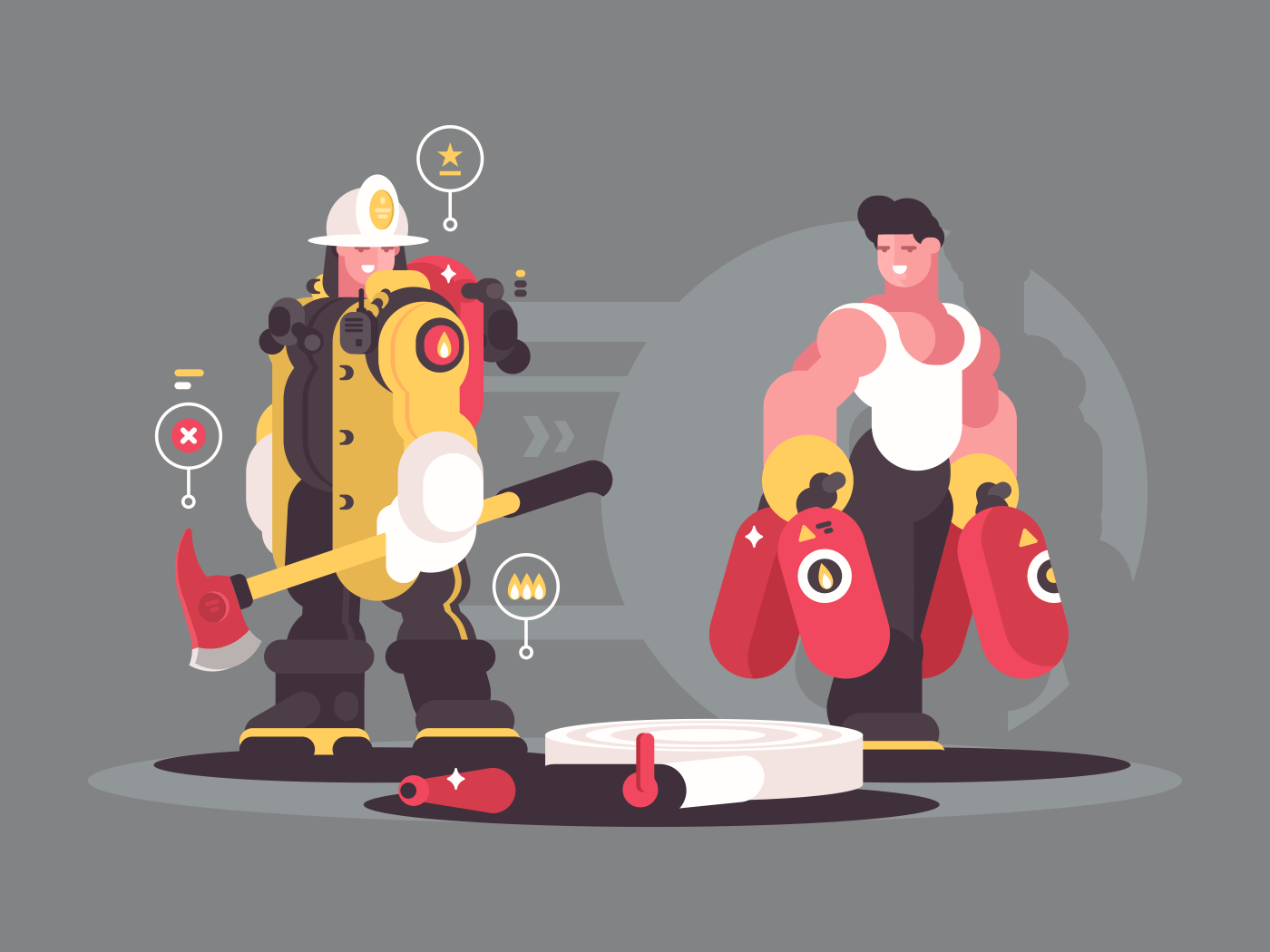 Team firefighters in helmet and with fire extinguisher. Vector illustration