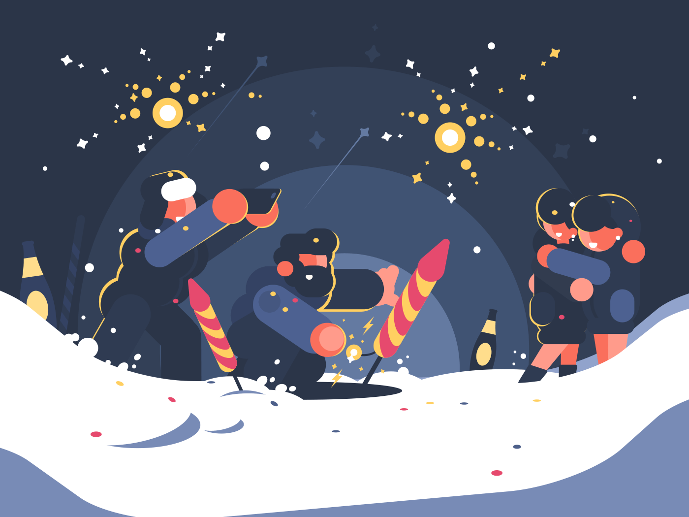 Guys launching fireworks. New Year or Christmas salute. Vector illustration