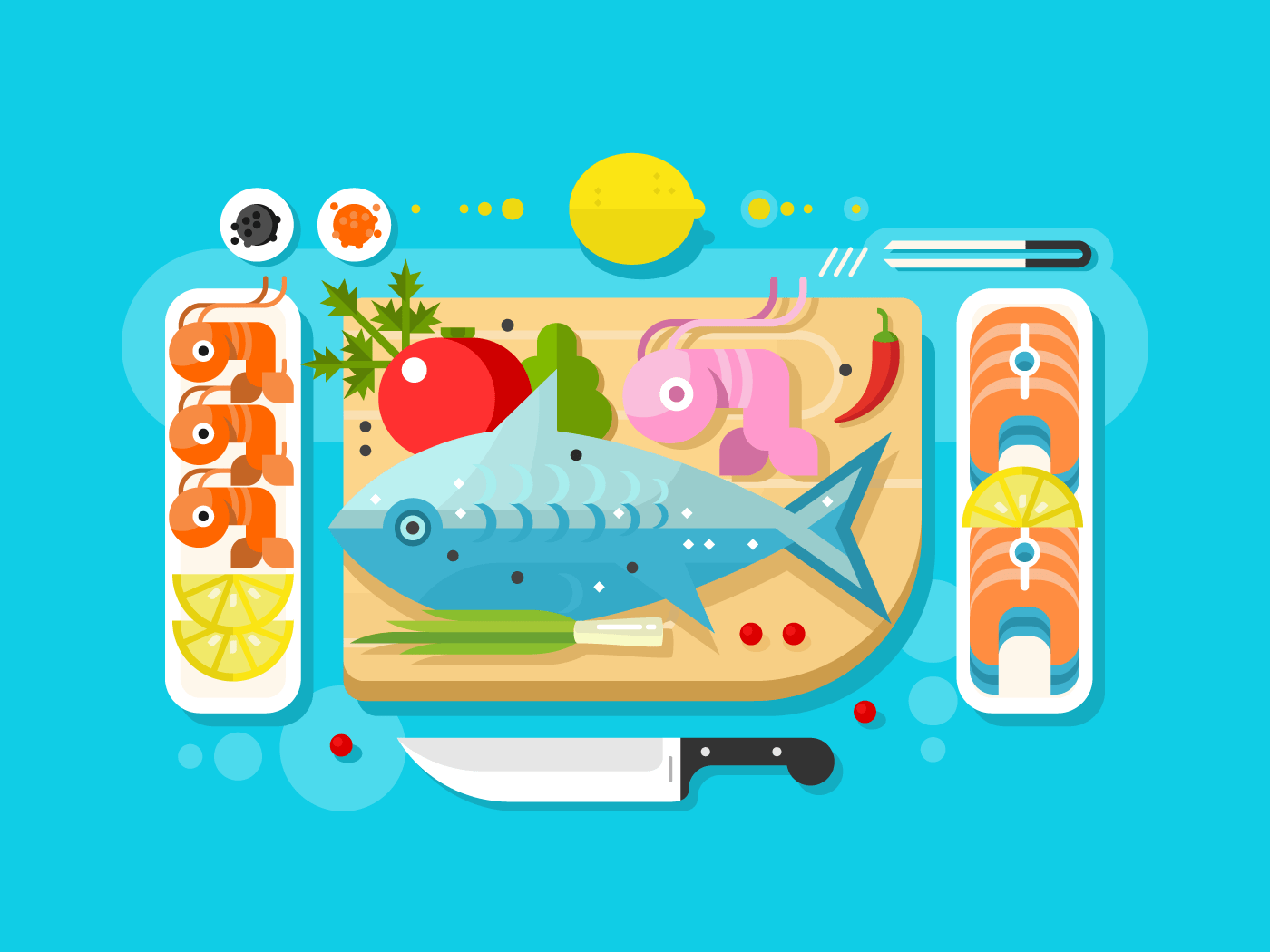 Sea food fish product flat vector illustration