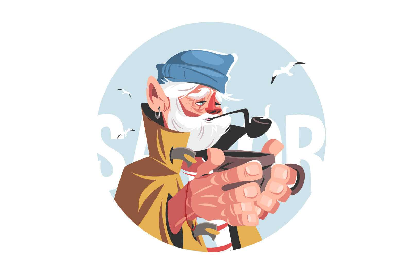 Fisherman with hot drink vector illustration. Old man in hat smoking pipe flat style. Seagulls frying around. Ageing and hobby concept. Isolated on white background