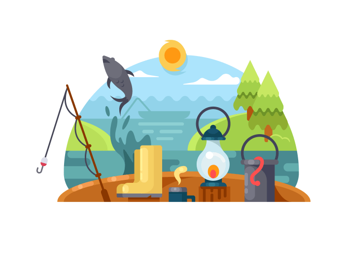 Recreation on fishing illustration