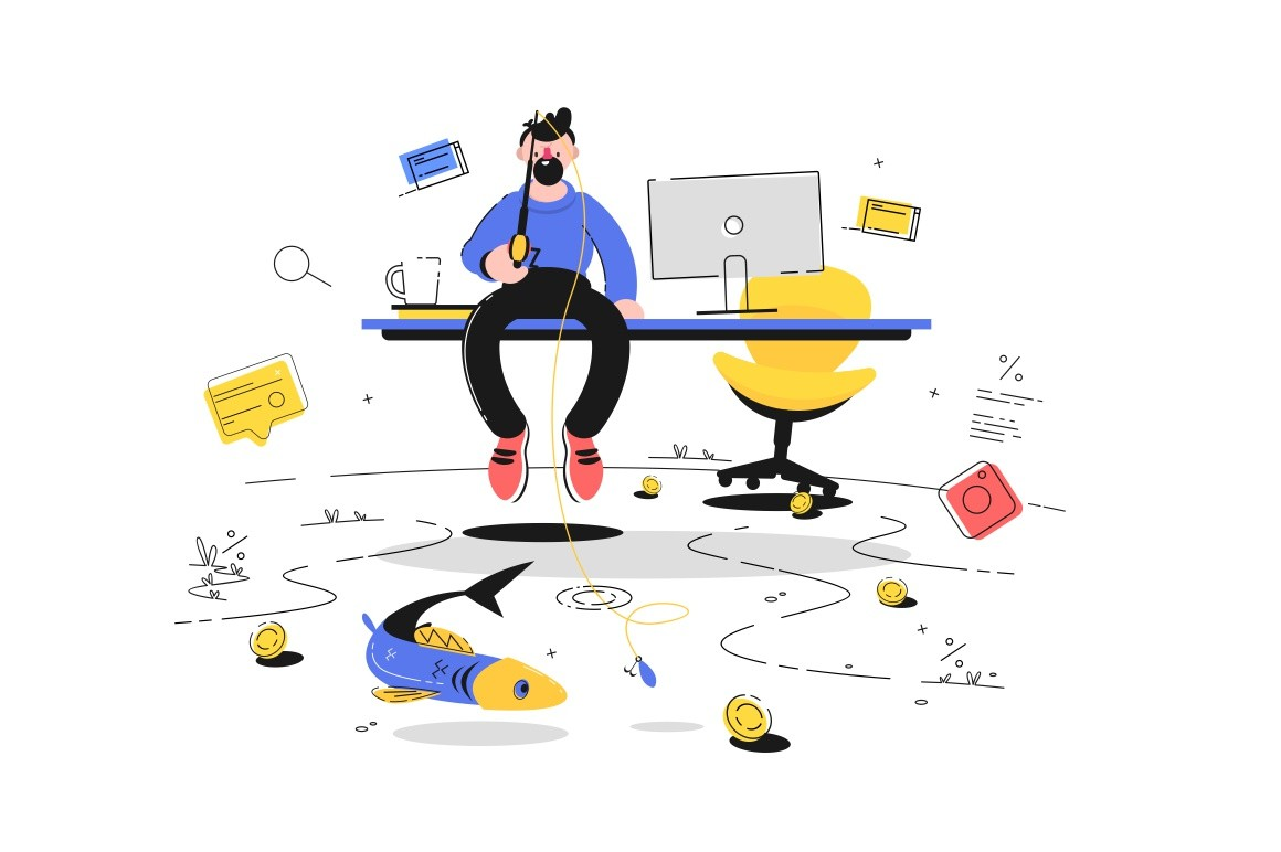 Man fishing in office vector illustration. Guy sitting on table in cabinet and trying catch coins and gold fish flat style concept. Business and increase income concept