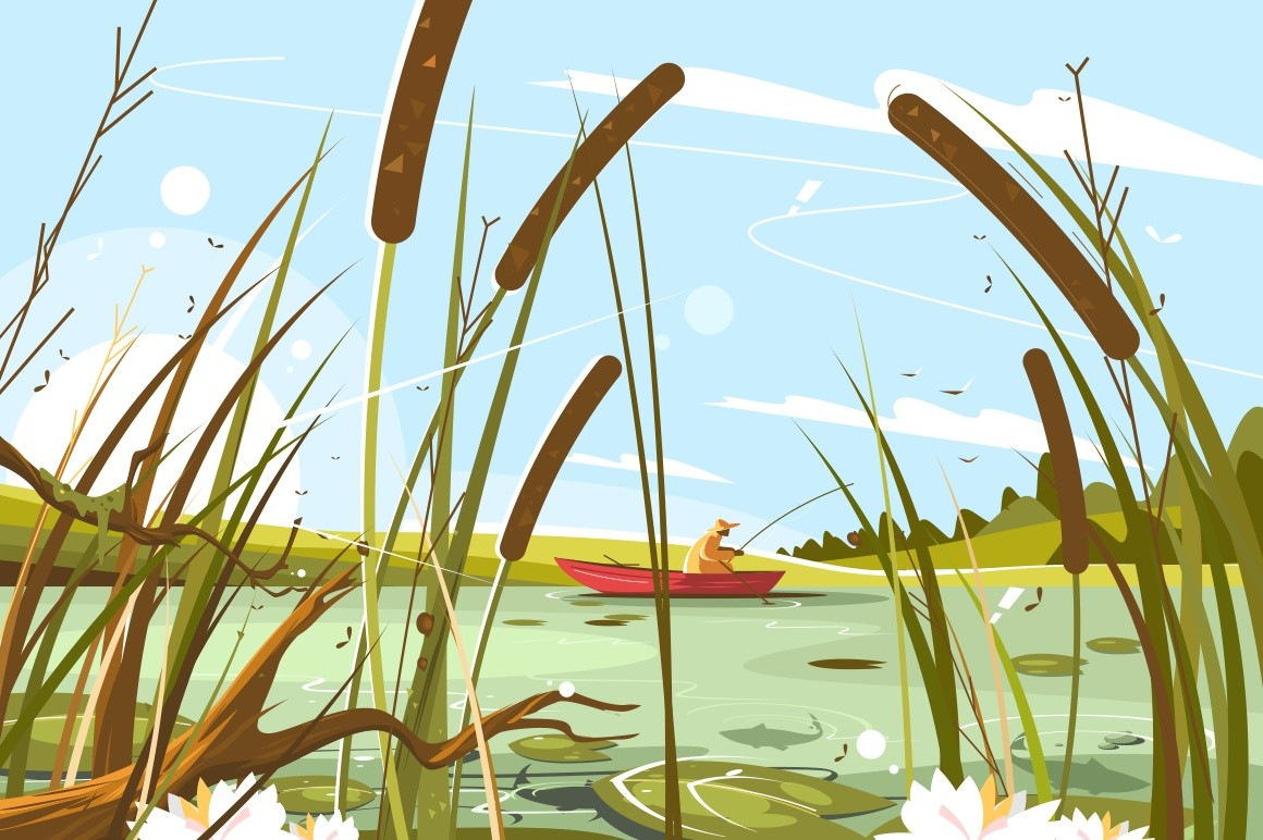 Fisherman fishing in pond vector illustration. Man sitting in boat with fish-rod and waiting nibble flat style concept. Blue sky and green reeds landscape. Catching fish hobby concept