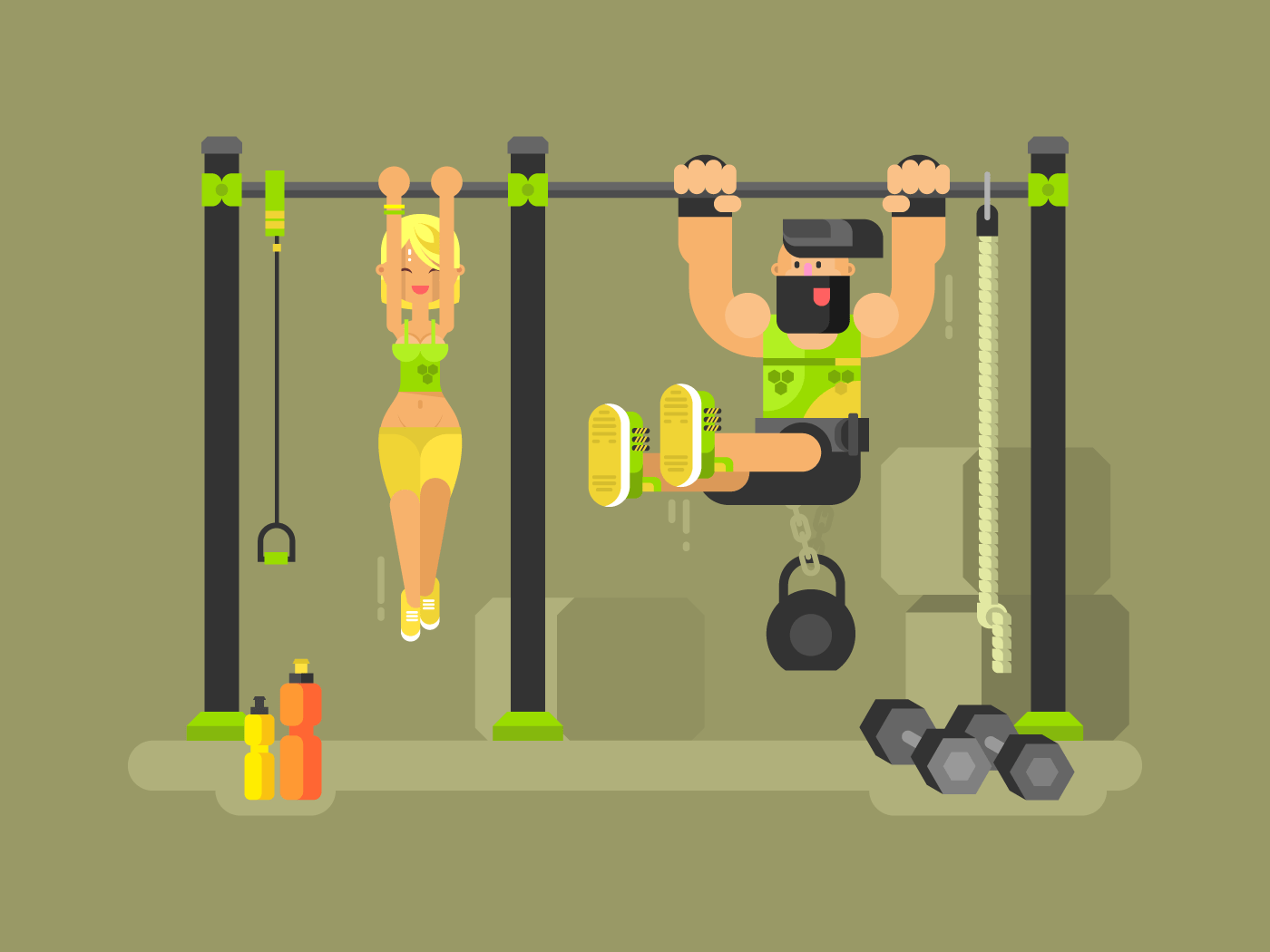 Man and woman fitness flat vector illustration