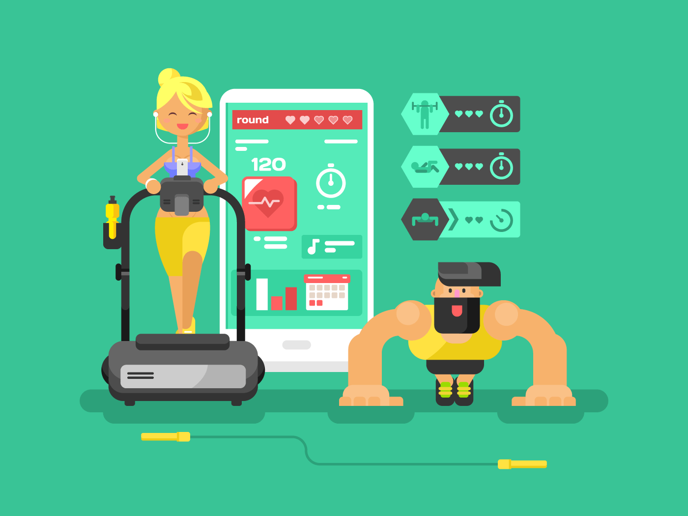 Fitness app man and woman flat vector illustration