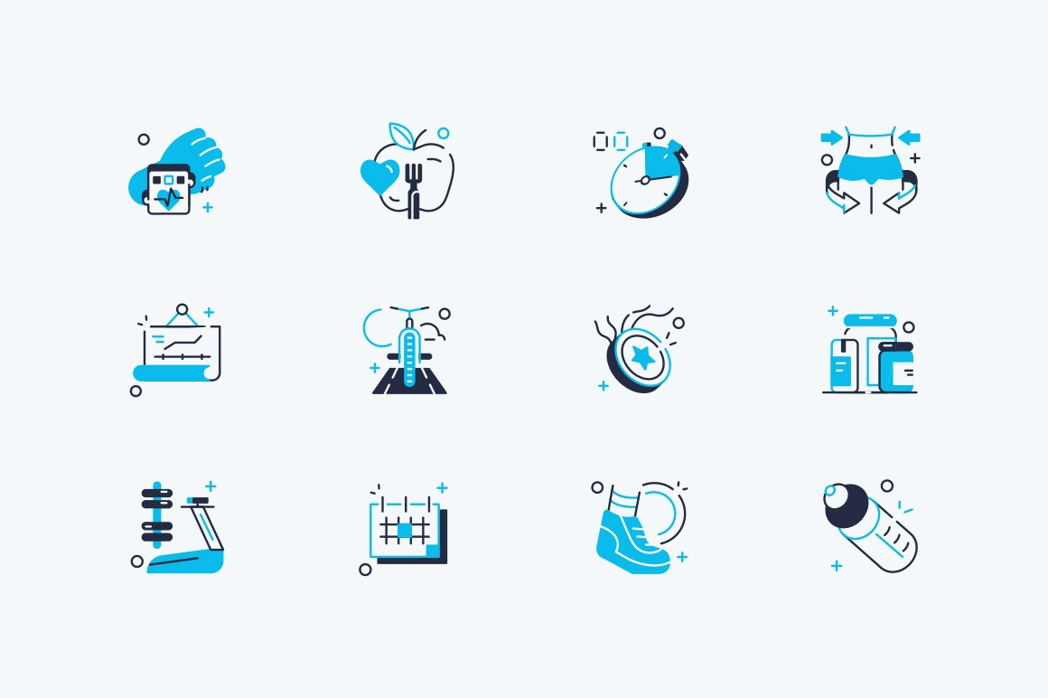 Fitness icons set vector illustration. Collection consist of healthy lifestyle symbols such as diet food, stopwatch, sport equipment, star with ribbon for sporting emblem design flat style concept