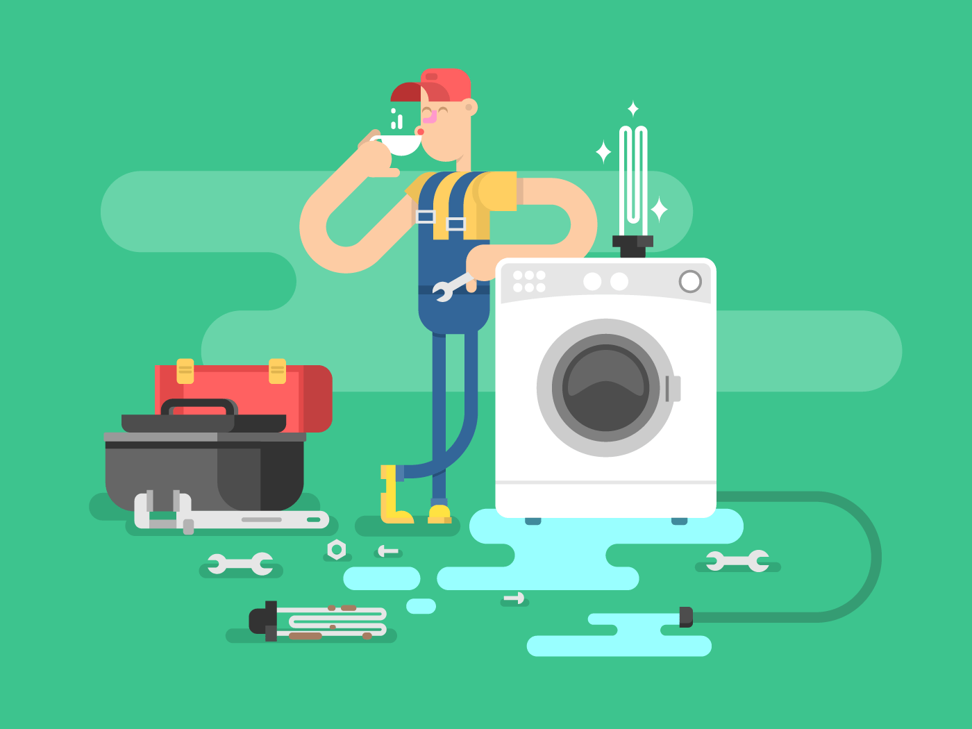 Repair of washing machines flat vector illustration