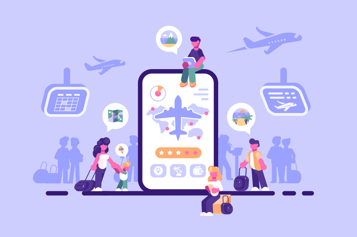 Online ticket service internet application vector illustration. People booking tickets on plane with modern gadgets via app flat style design. Isolated on purple