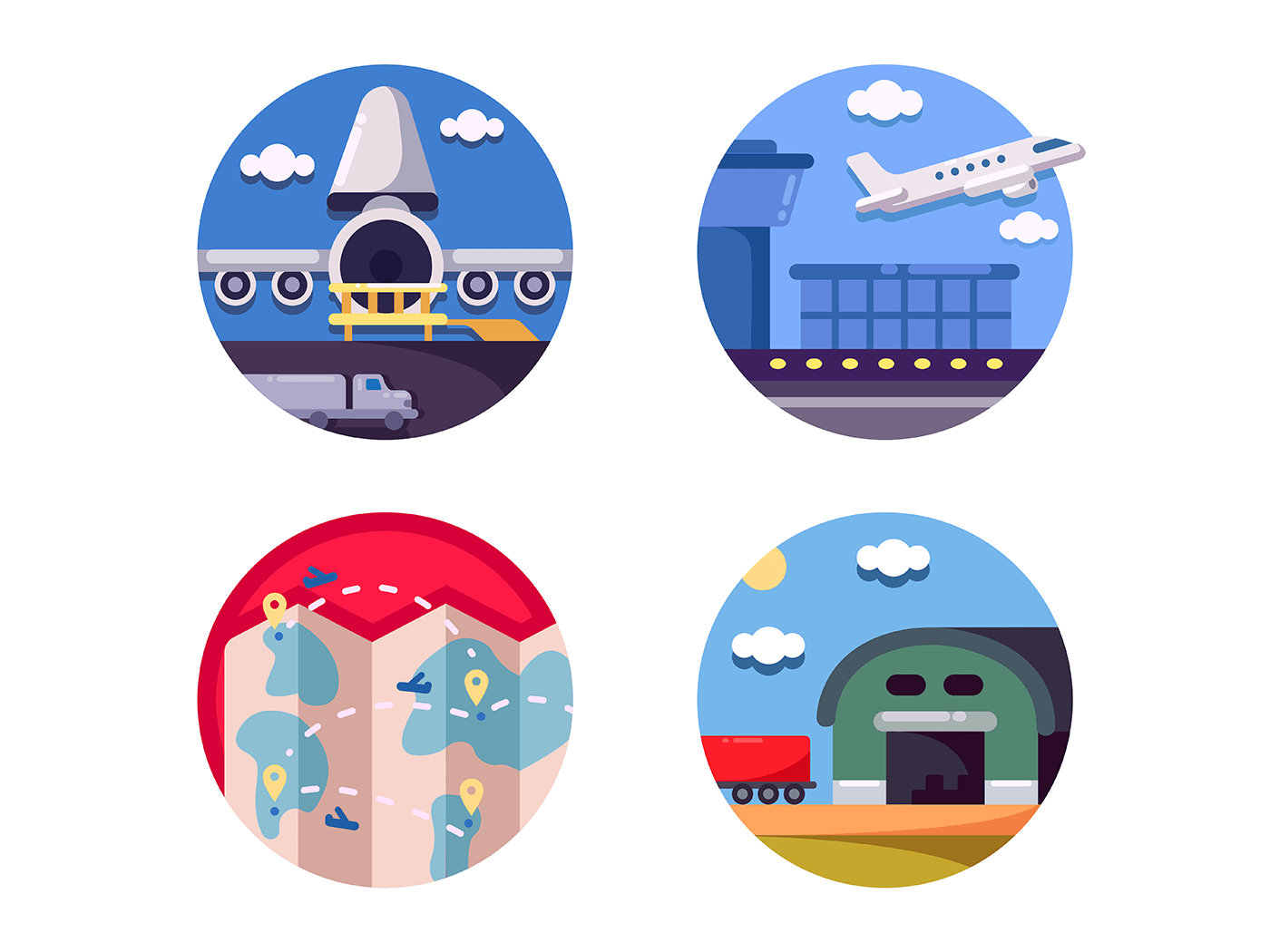 Air logistics and freight transport icons