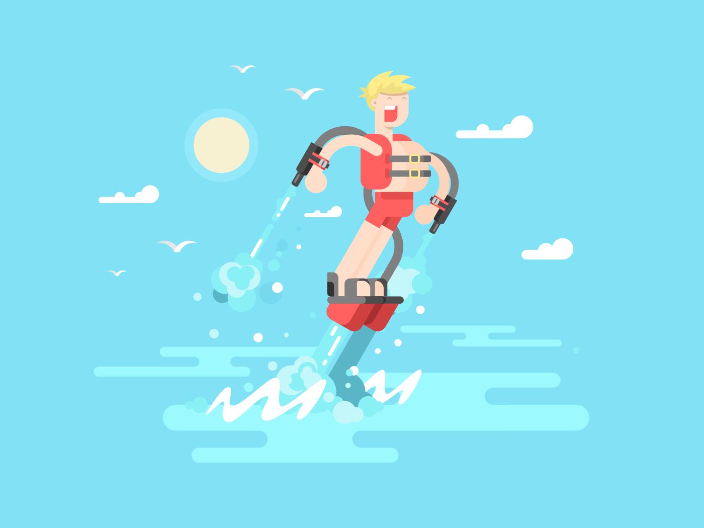 Man at flyboard flat vector illustration