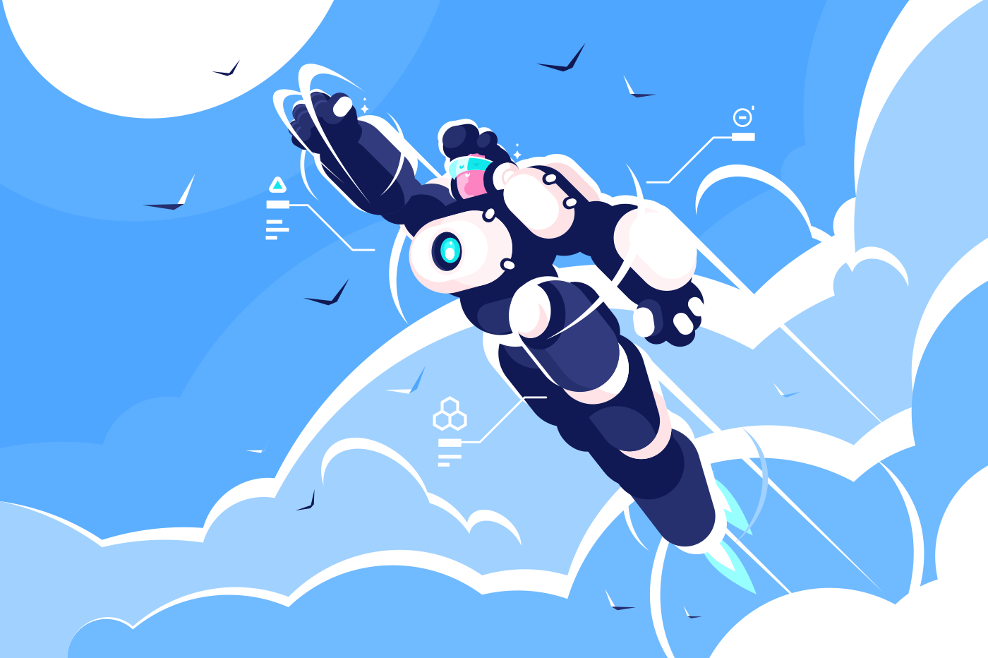 Man astronaut super hero spacesuit flying in sky. Robot costume powerful cartoon character concept. Flat. Vector illustration.