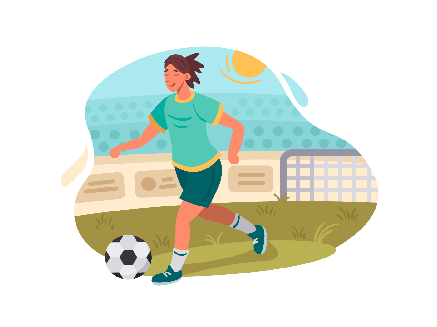 Soccer player plays football illustration