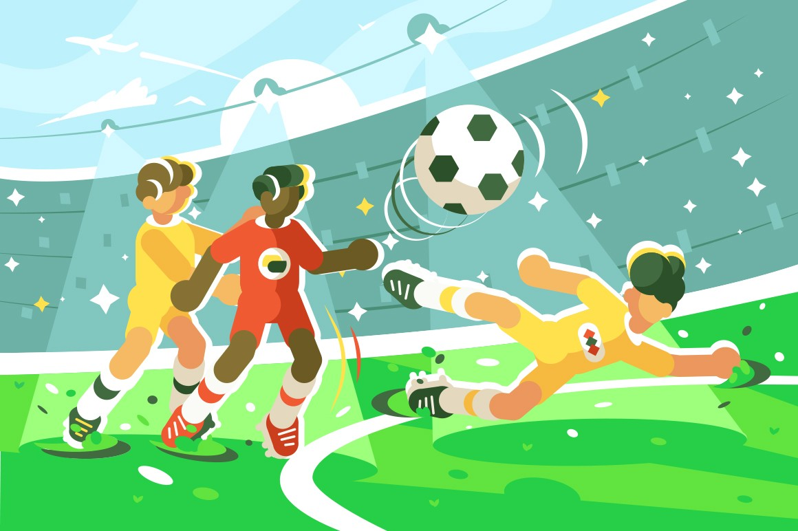 Exciting football match vector illustration. Team of cartoon footballer playing soccer on green stadium field with stands with fans flat style concept. Guy in yellow uniform passing ball
