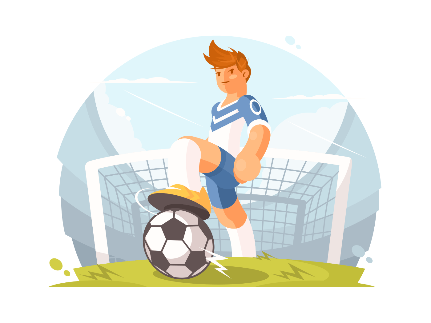 Cartoon character football player illustration