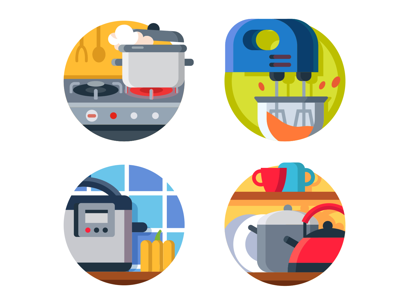 Kitchenware icon stove and kettle icons
