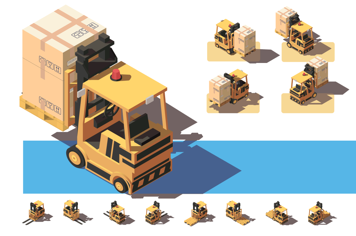 Isometric 3d forkit with transportation of a box with things.