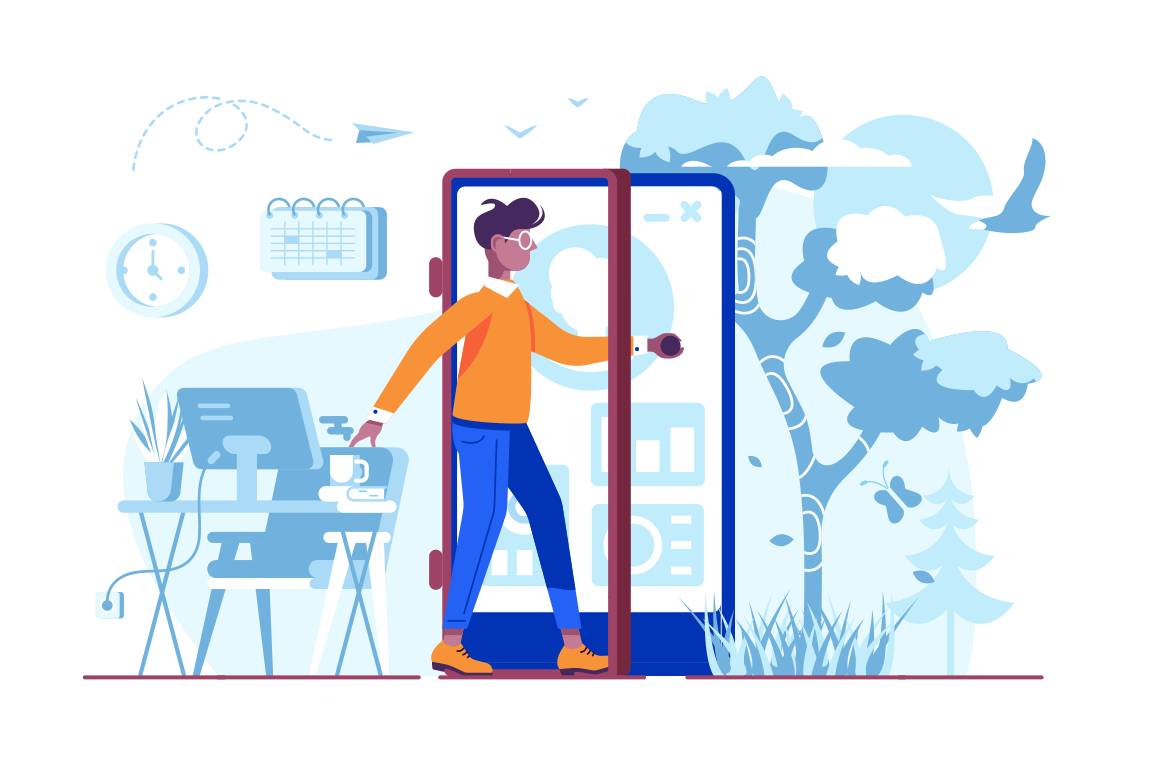Man coming out of cellphone door vector illustration. Cartoon boy in casual clothes getting outside from office via exit in form of smartphone flat style concept