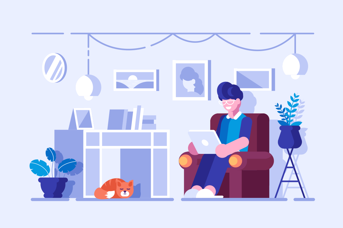 Cartoon man spending free time at home. Smiling boy in glasses sitting on armchair with modern laptop vector illustration. Living room interior flat style concept
