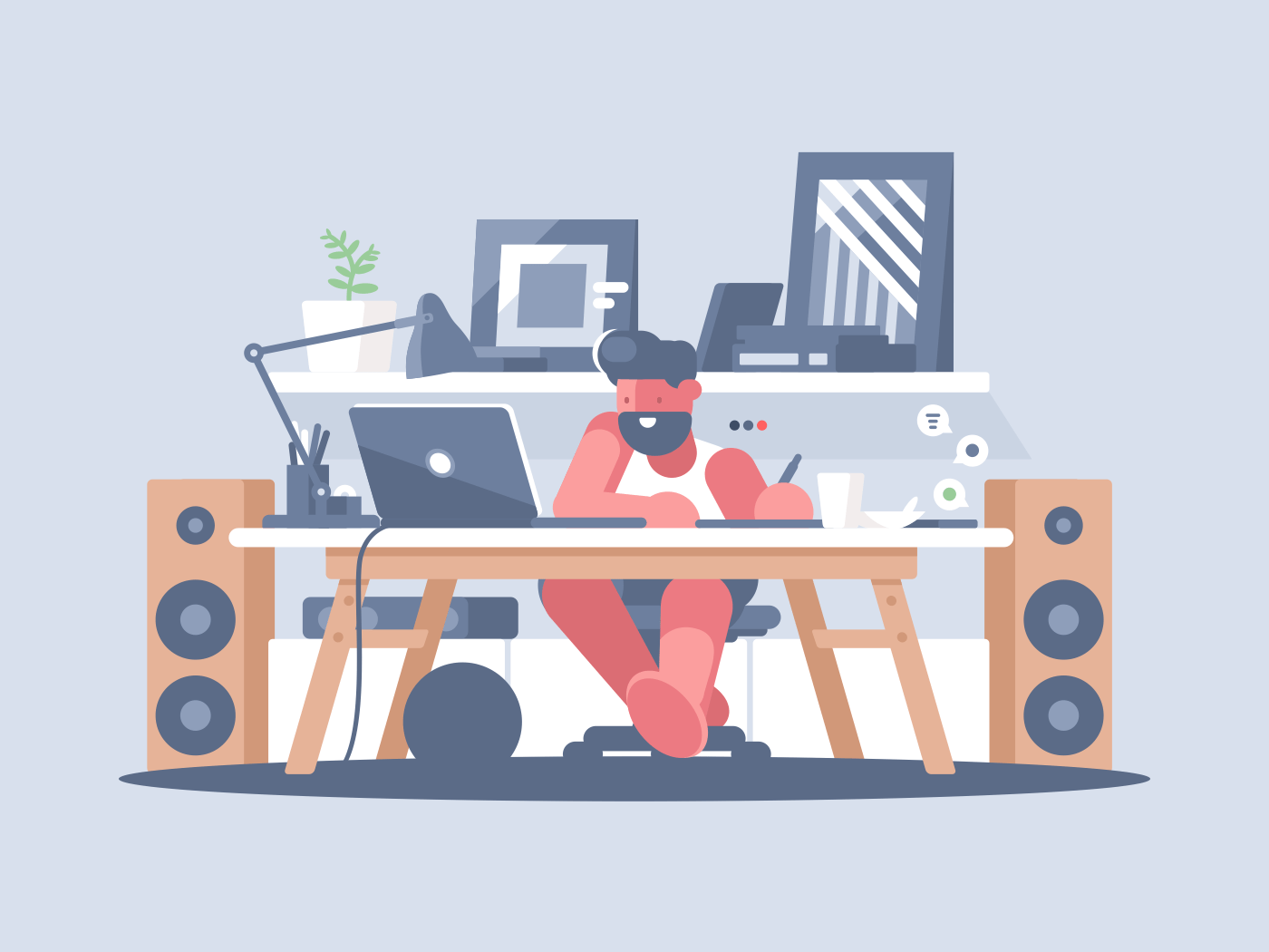 Freelancer works with laptop at home. Remote work of graphic designer. Vector illustration