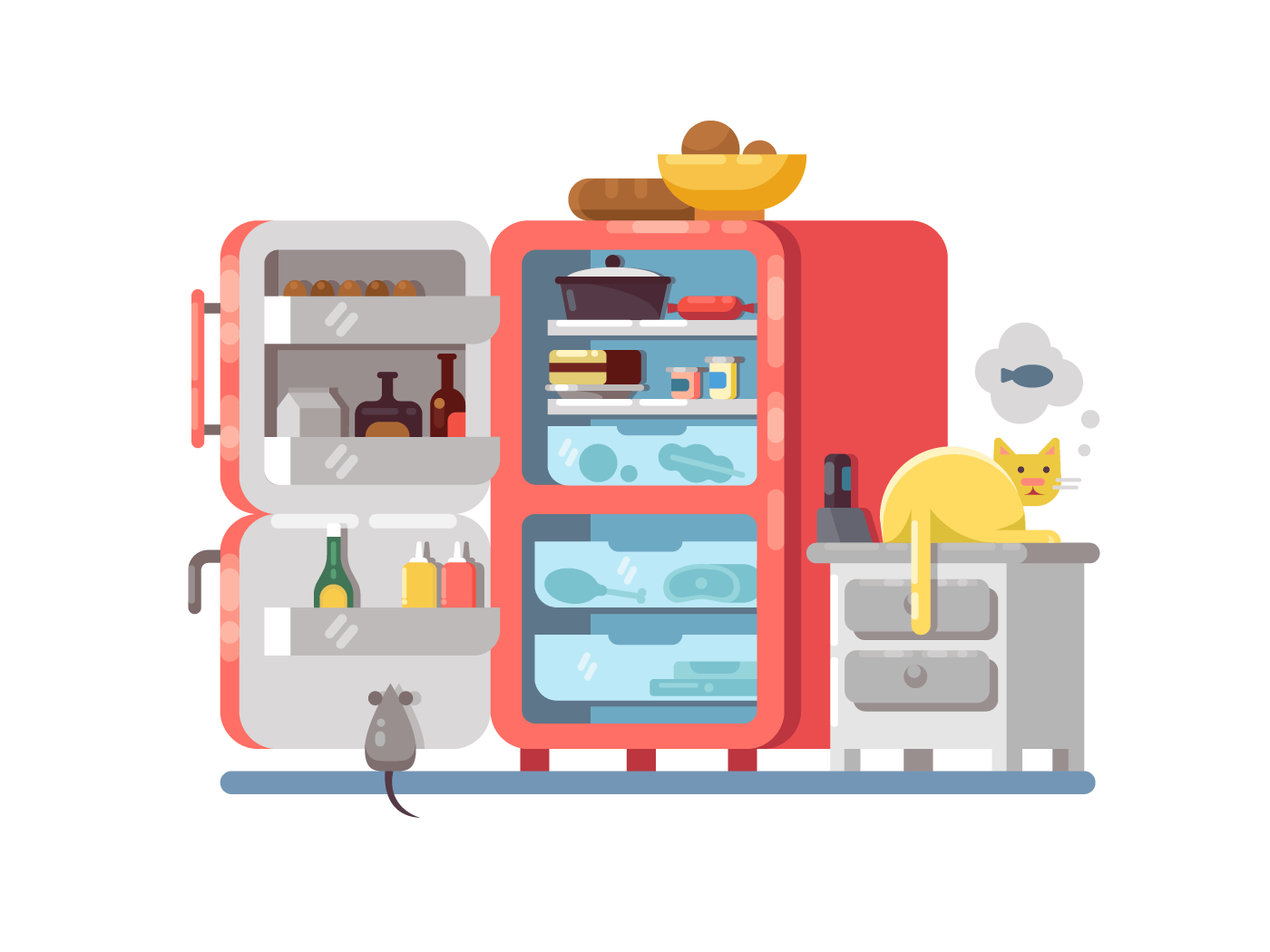 Open refrigerator with food illustration