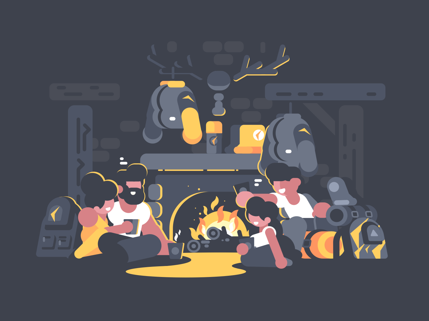 Group of friends sitting by fireplace in evening. Vector illustration