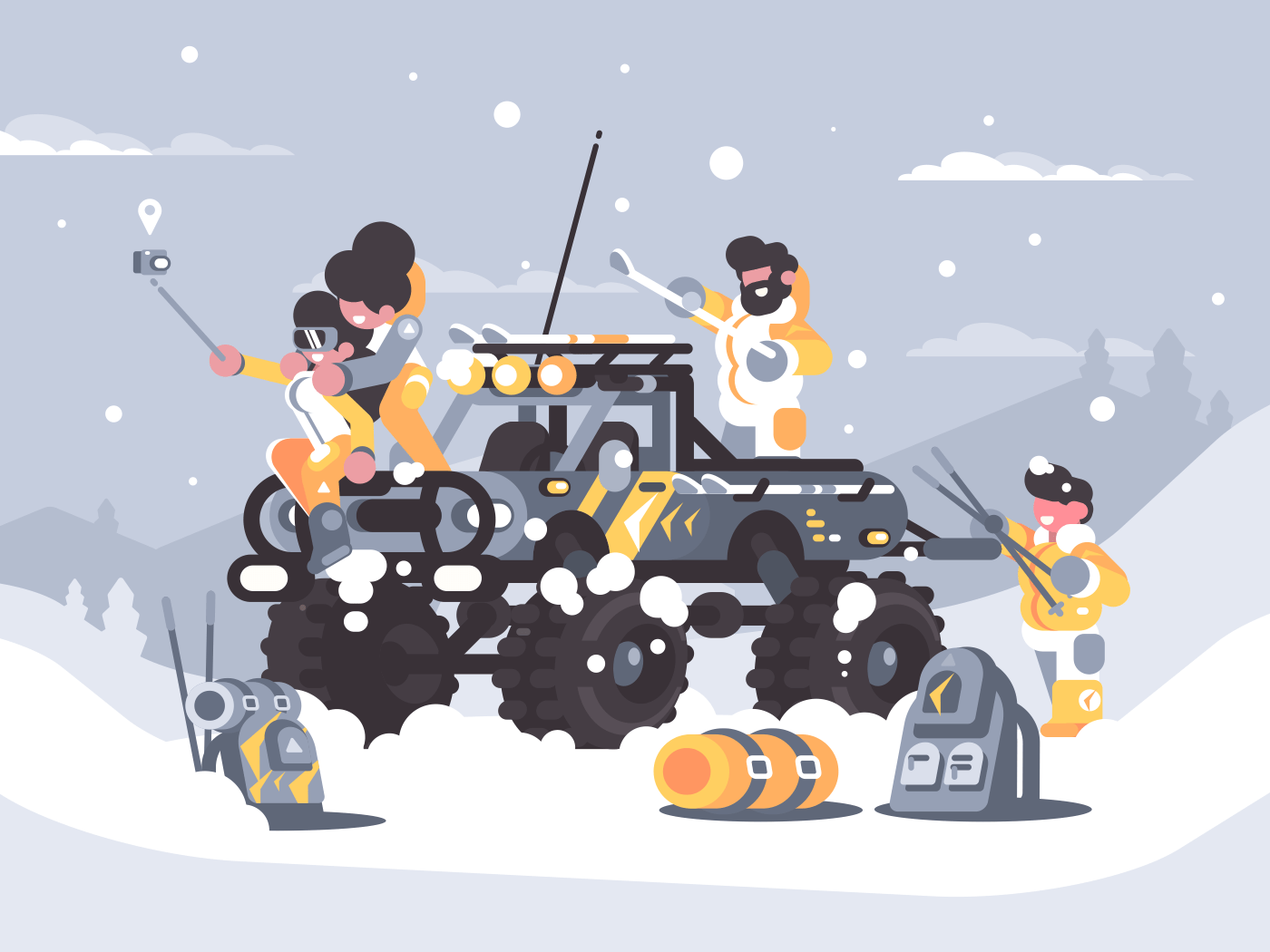 Friends rest in winter in mountains on off-road car. Vector illustration