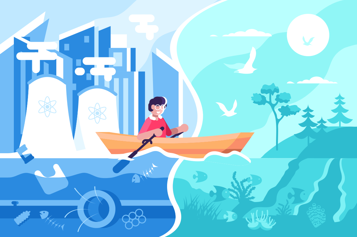 Man swimming on boat from town to nature vector illustration. Happy male sailing from polluted city to picturesque ecologically clean place flat style concept