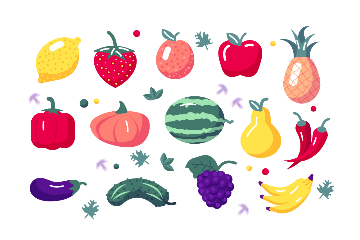 Fruits and vegetables set vector illustration. Composition consists of lemon apple strawberry pineapple bell pepper cucumber bananas and watermelon symbols flat style concept. Isolated on white