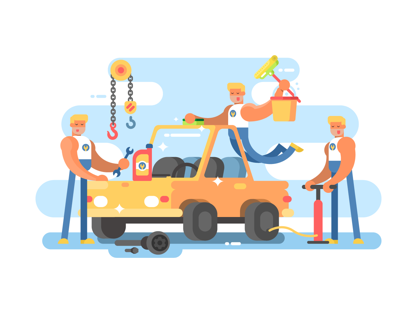 Full auto repair flat vector illustration