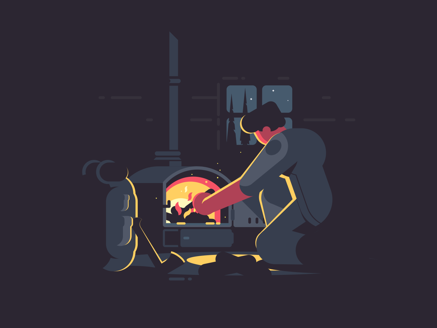 Traveler man warm by furnace in hut at night. Vector illustration