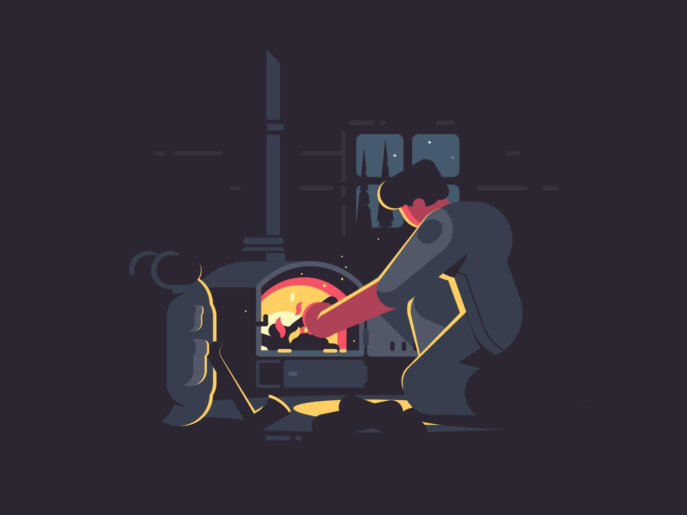 Traveler man warm by furnace in hut at night. Vector illustration