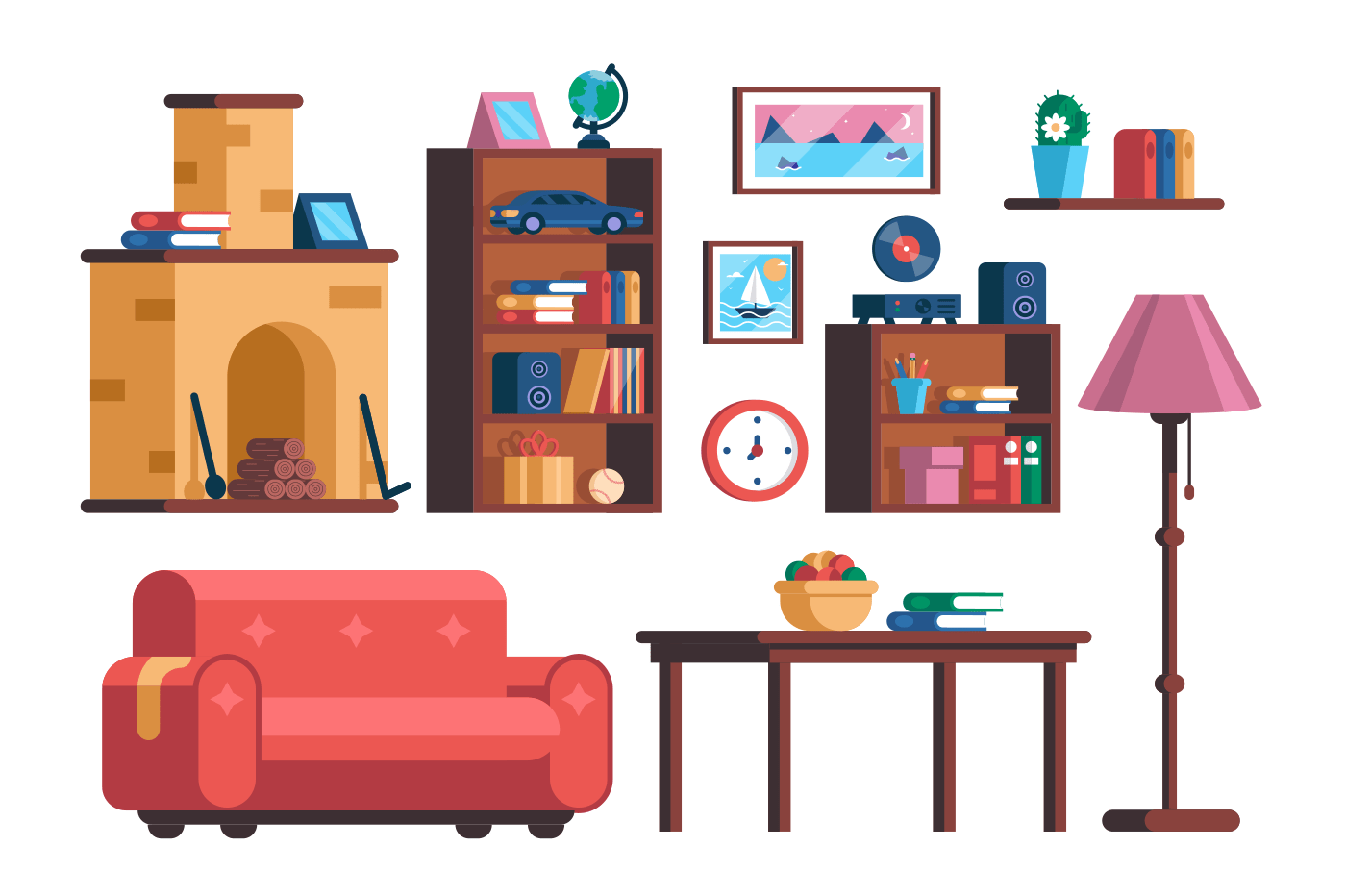 Set living room interior furniture collection. Different design elements. Home accessories concept. Flat. Vector illustration.